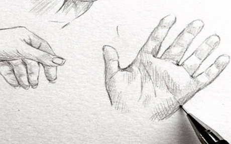 A Detailed Sketch of a Pair of Hands