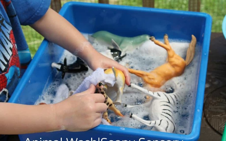 Animal Wash Soapy Sensory Play