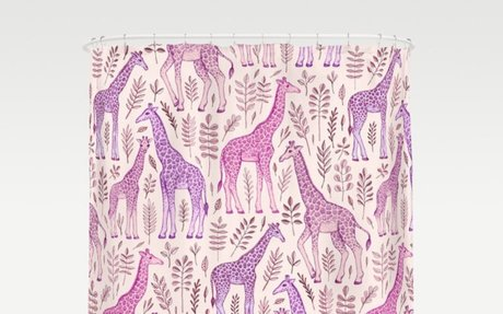 Pink and Purple Giraffe Pattern Shower Curtain