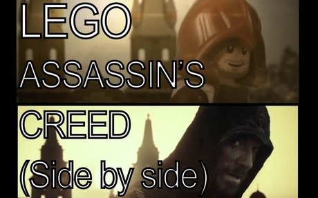 Assassin's Creed Trailer in Lego (Side by side)