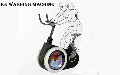 Bike Washing Machine: stationary bike washing clothes.
