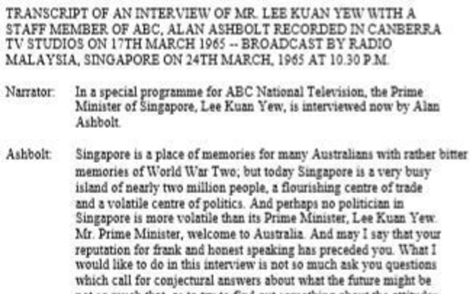 The interview of Mr Lee Kuan Yew