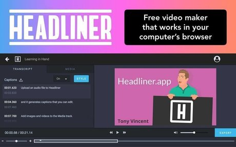 Headliner.app: A free web-based video maker
