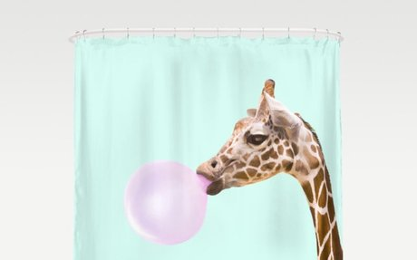 Giraffe and Bubble Gum Shower Curtain