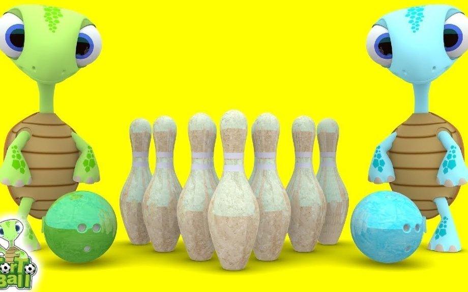 BOWLING BALLS Turtles All Star Bowling Trick Shots Fun For Children and Kids | Torto Ball