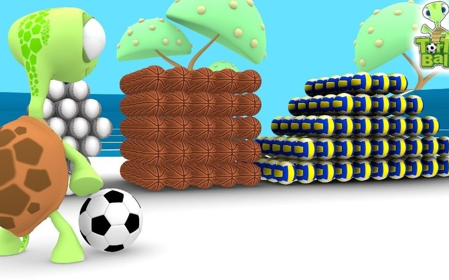 LEARN BALLS - Turtles with soccer Football shots Shapes For Children and Kids | Torto Ball