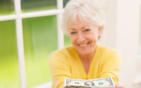 A grandma giving money.