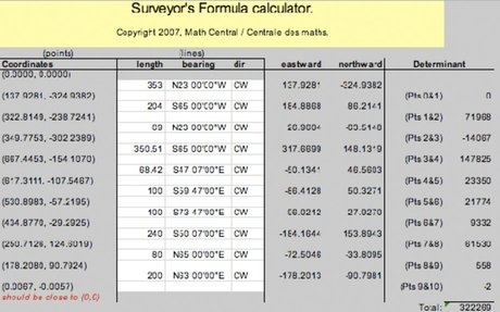 Bearings Spreadsheet Tool for Surveyors