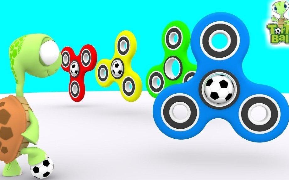 FIDGET SPINNER Turtles Kick Soccer Ball Learn Colors For Children and Kids | Torto Ball
