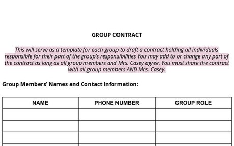 6-12 Group Contract Template