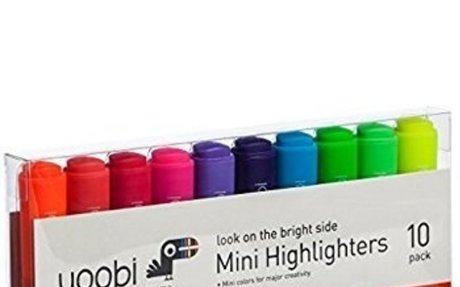 Yoobi Look On The Bright Side Mini Highlighters, 10 Pack Multi Color