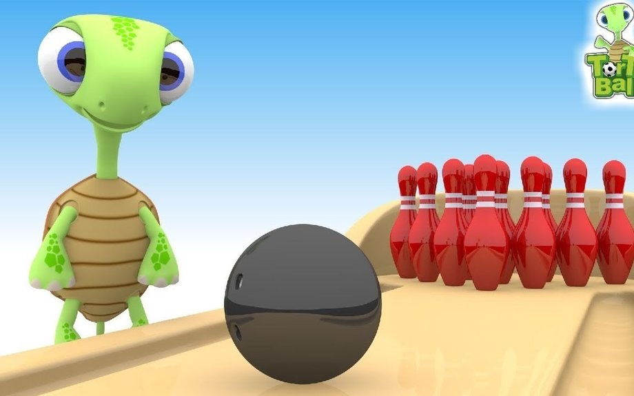Funny Turtles With Mini Bowling Balls Learn Colors For Children and Kids | Torto Ball