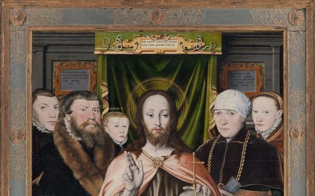 Christ Blessing, Surrounded by a Donor Family  | German Painter (probably active Hamburg a