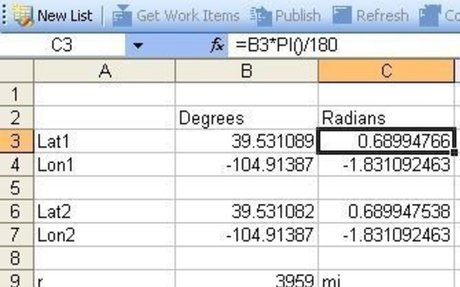 Coordinates to bearing and distance calculator (rectangular to polar)