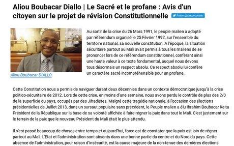 Aliou Boubacar Diallo - Avis sur la révision constitutionnelle