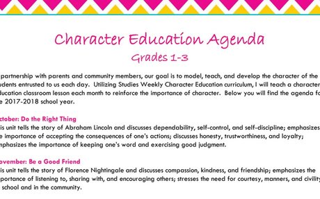 2017-2018 Character Education Agenda