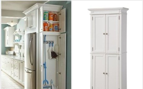 Free Standing Broom Closet Cabinet for the Kitchen or Garage
