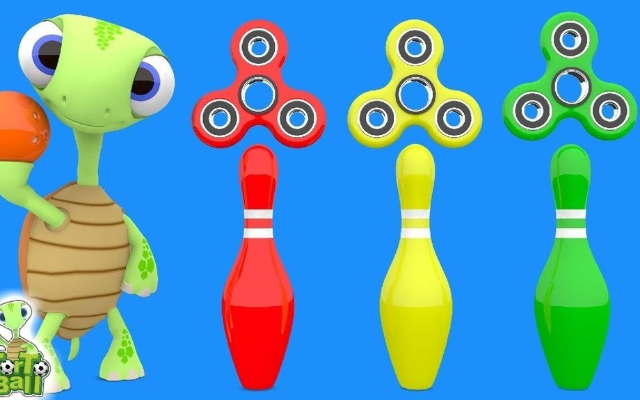 BOWLING BALLS With FIDGET SPINNER turtles playing learn colors For Children and Kids by To