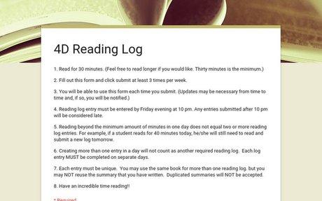 4D Reading Log