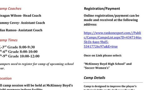 Girls Soccer Camp Flyer 2018