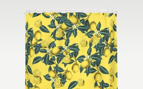 Lemon and Leaf Pattern III Shower Curtain