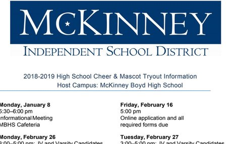 18-19 MISD High School Cheerleader and Mascot Tryout Dates