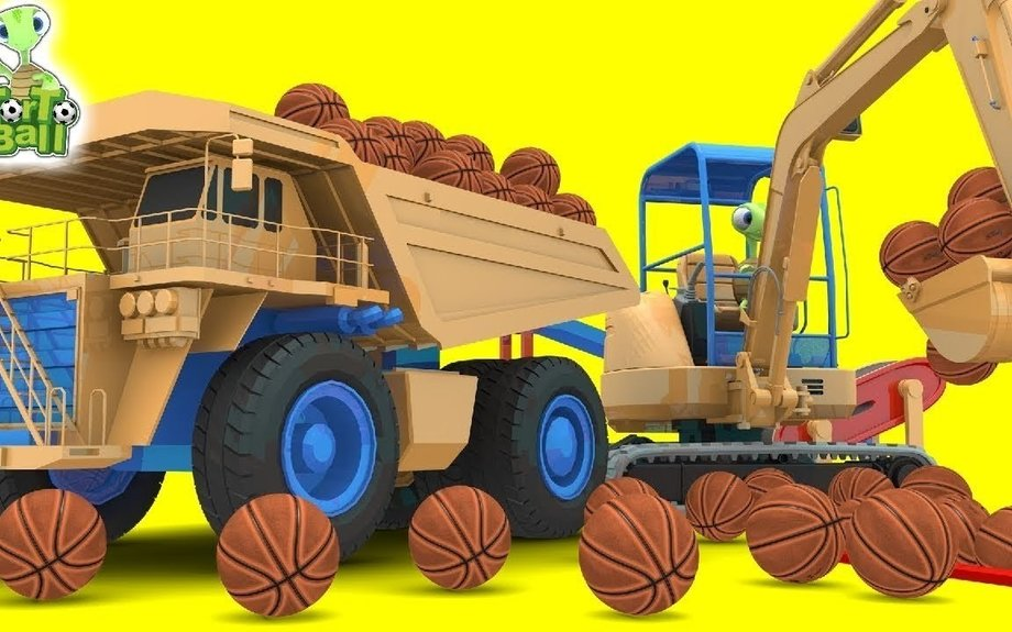 BASKET BALLS Turtle With Crane and Dump Truck Execution Basketball For Kids | Torto Ball