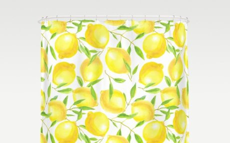 Lemons and leaves  pattern design Shower Curtain