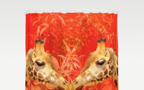 Face to face Kissing - beautiful giraffes - love is in the air Shower Curtain