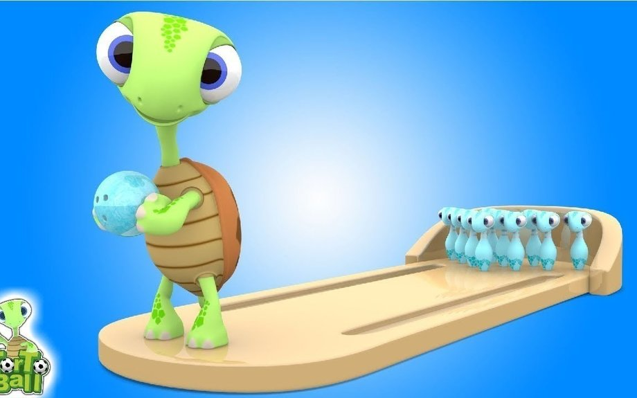 BOWLING BALLS Turtles Playing Mini Bowling Back to Back Action For Children and Kids | Tor