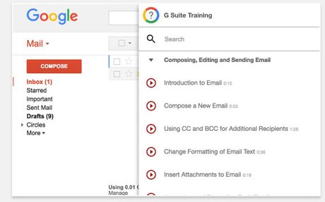 Interactive training and walkthroughs, right within G Suite.
