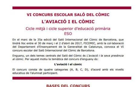 Convocatòria del VI concurs escolar Saló del Còmic - inscripcions fins el dia 31 de gener