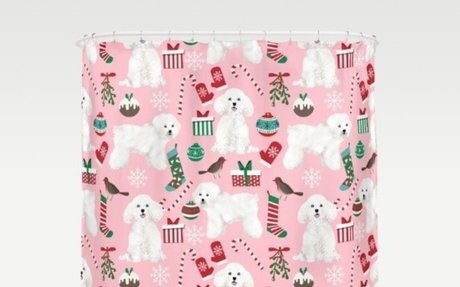Bichon Frise pink Christmas holiday themed shower curtain