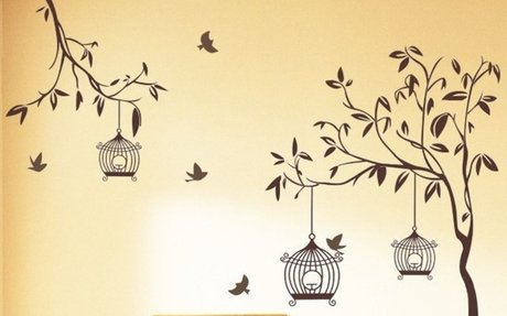 Buy Decals Design 'Tree with Birds and Cages' Wall Sticker (PVC Vinyl, 60 cm x 90 cm, Brow