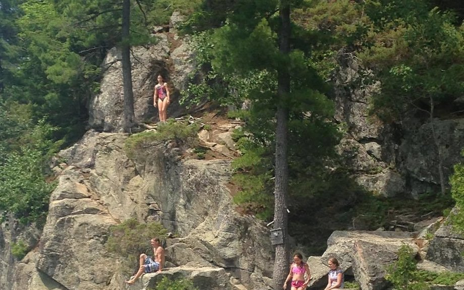 Rock jumping in the summer