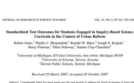 Standardized Test Outcomes for Students Engaged in Inquiry-Based Science Curricula...