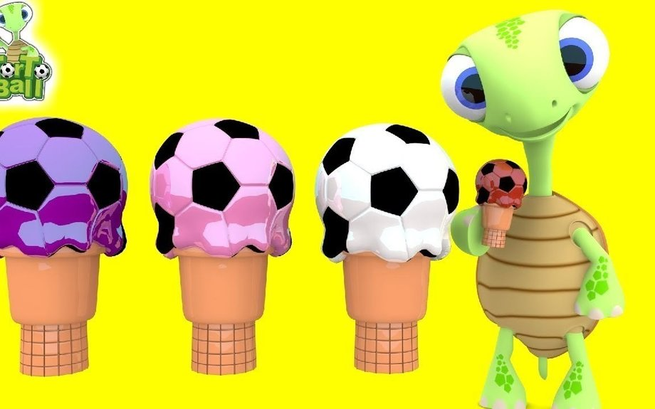 Ice Cream Soccer Balls Turtles with Melted Rounds Learn Colors For Children and Kids | Tor