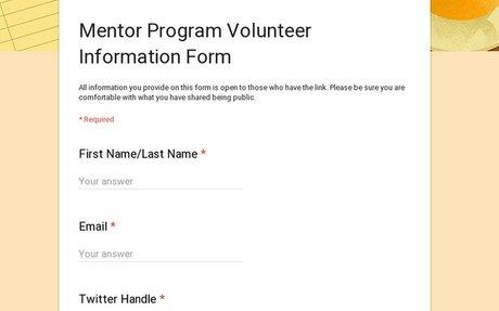 Mentor Program Volunteer Information Form