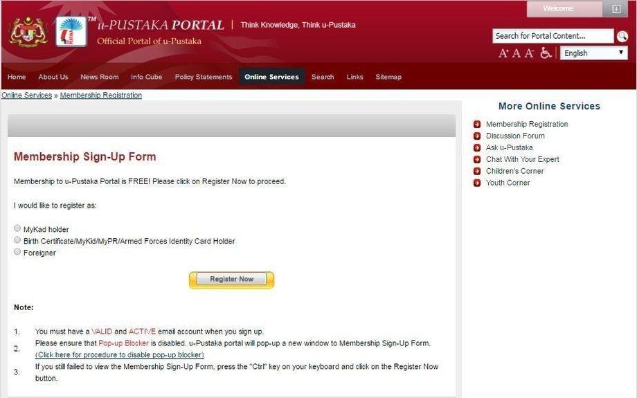 The Official Portal of u-Pustaka - Pendaftaran Ahli