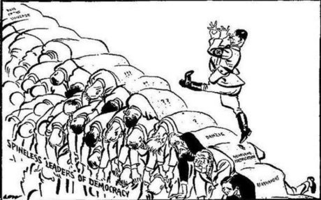 Hitler using the backs of democracy leaders as steps, to get to where he wants to be.