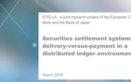 2018-03 ECB Project: Securities settlement systems & DLT
