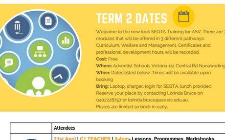 Term 2, 2017 SEQTA Training @ ASV ~ FREE