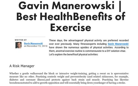 'Gavin Manerowski | Best Health Benefits of Exercise' by Gavin Manerowski | Readymag