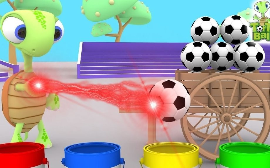 Turtle Magic Brings Soccer Ball With Cart Learn colors For Children and Kids | Torto Ball