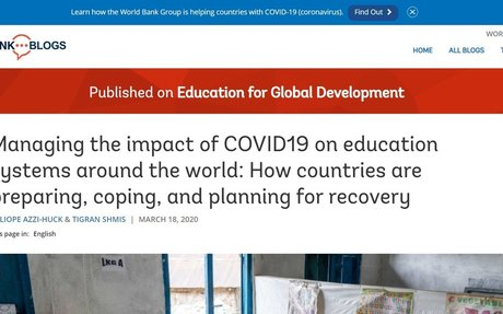 Managing the impact of COVID19 on education systems around the world