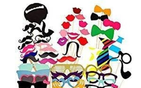 Amazon.com: 58PCS Colorful Props On A Stick Mustache Photo Booth Party Fun Wedding Favor C