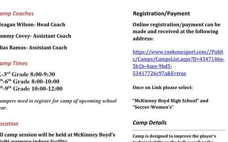Girls Soccer Camp Flyer