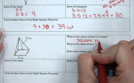 MS 7 Math Surface Area of Right Square Pyramids