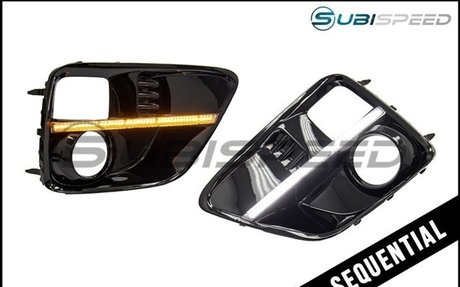 SubiSpeed Sequential / Sweeping JDM WRX S4 Style DRL Fog Light Bezels - 15-17 WRX / 15-17
