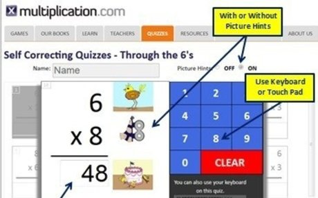 Multiplication - Self-Correcting Quizzes